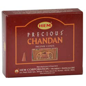 Precious Chandan HEM Incense Cones 10 pack - Wiccan Place