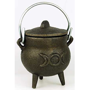 "Triple Moon cast iron cauldron 3"" - Wiccan Place"