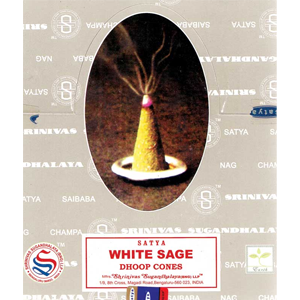 White Sage dhoop Satya Cone Incense (12/pk) - Wiccan Place