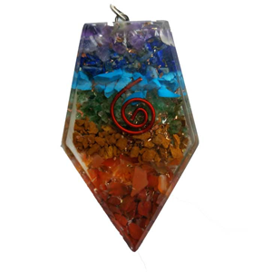Orgone Triangle 7 Chakra pendant - Wiccan Place