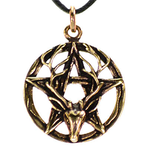 Pentagram Stag Bronze Necklace - Wiccan Place