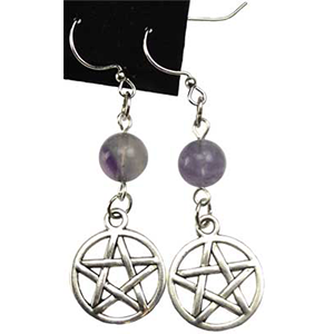 Fluorite Pentagram Earrings - Wiccan Place