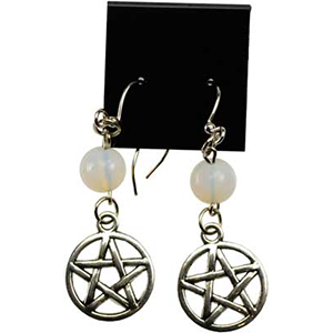 Opalite Pentagram earrings - Wiccan Place