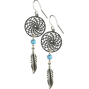 Dream Catcher Earring w/ Turquoise - Wiccan Place