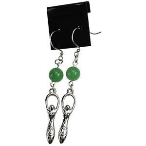 Green Aventurine Goddess Earrings - Wiccan Place