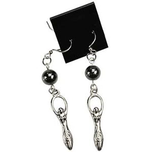 Hematite Goddess Earrings - Wiccan Place