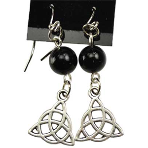 Black Onyx Triquetra Earrings - Wiccan Place