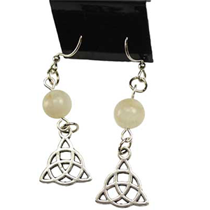 Moonstone Triquetra earrings - Wiccan Place