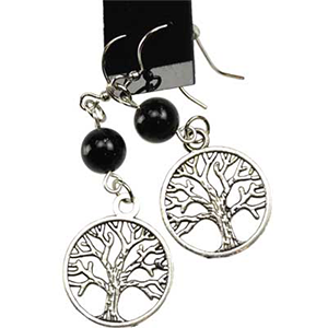 Black Onyx Tree of Life Earrings - Wiccan Place