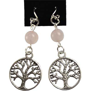 Rose Quartz Tree of Life earrings - Wiccan Place