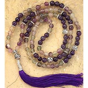 Fluorite & Amethyst Ball elastic mala - Wiccan Place