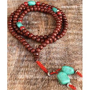 Rosewood & Turquoise Japa Mala Prayer Beads - Wiccan Place