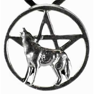 Howling Wolf Pentagram Necklace