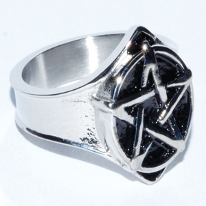 Stainless Steel Pentacle Ring - Wiccan Place