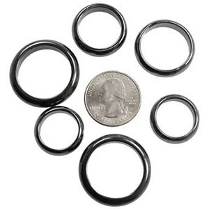 Rounded Hematite rings (50/bag), 6 mm - Wiccan Place