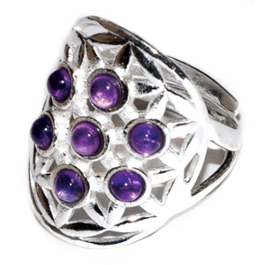 Sterling Silver Flower of Life Amethyst adjustable ring 20mm
