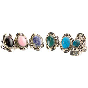 Stone adjustable ring (various) - Wiccan Place