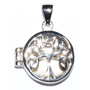 Celtic Tree of Life locket sterling silver pendant 3/4""