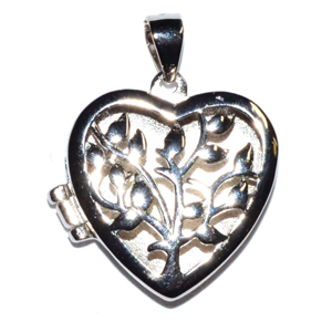 Tree Heart locket sterling silver pendant 3/4""