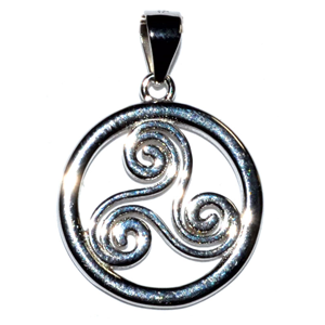Trinity Spiral sterling silver pendant 5/8""