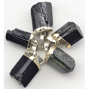 Black Tourmaline Untumbled pendant - Wiccan Place