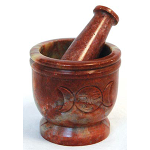 Triple Moon Soapstone mortar & pestle set - Wiccan Place