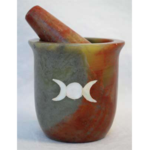 Pearl Inlaid Triple Moon Soapstone mortar & pestle set - Wiccan Place