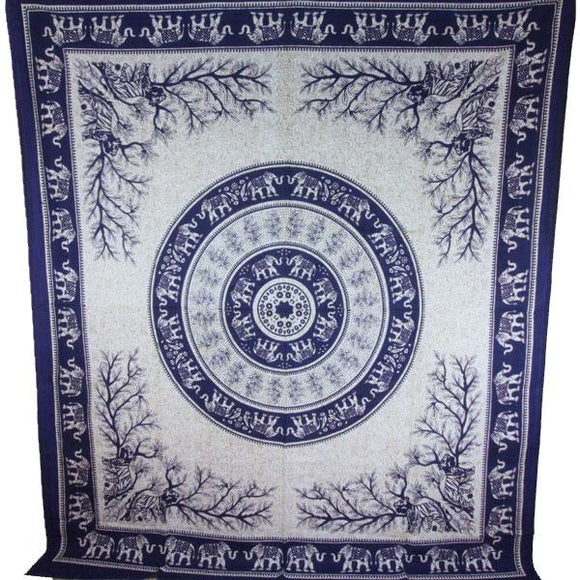 Navy Blue Tigers & Elephants Majestic Beasts Tapestry