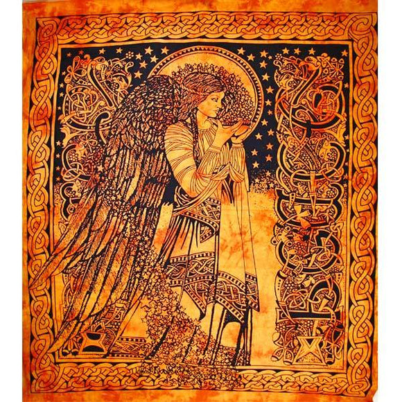 Orange Angel of Peace Tie Dye Tapestry