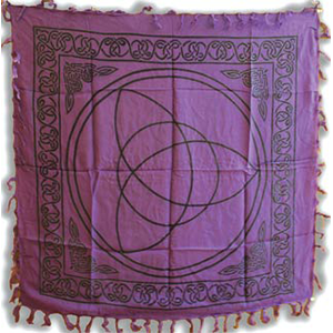 "Purple Triquetra altar cloth 36"" x 36"" - Wiccan Place"