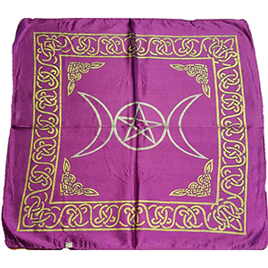Purple rayon Triple Moon Pentagram altar cloth 18