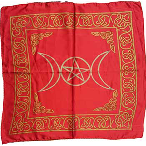 Red rayon Triple Moon Pentagram altar cloth 18