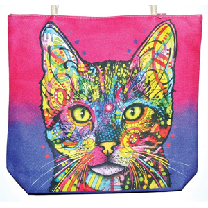 "Cat jute tote bag 14"" x 16"" - Wiccan Place"