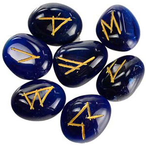 Blue Onyx Rune set - Wiccan Place