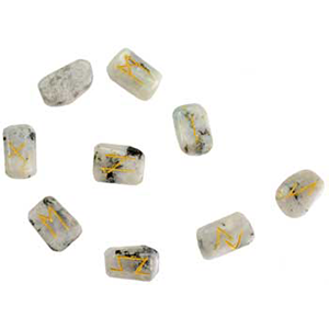 White Rainbow Moonstone rune set - Wiccan Place