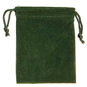 "Velveteen Green Bag 2"" x 2"" 1/2 - Wiccan Place"