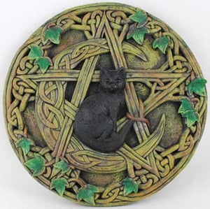 "Cat and Pentagram Wall Plaque 7 1/2"" - Wiccan Place"