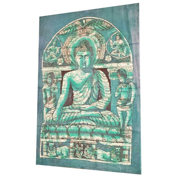 Batik Theme Buddha in Enlightenment Vintage Tapestry Banner