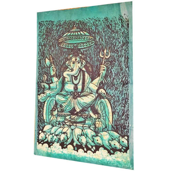 Batik Cotton Fabric Krauncha Ganesha Wall Decor Banner Tapestry