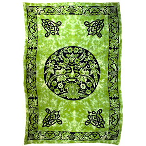"Green & Black GreenMan Tapestry 72"" x 108"" - Wiccan Place"