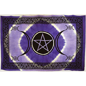 "Purple Triple Moon Pentagram Tapestry 72"" x 108"" - Wiccan Place"