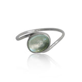 Aquamarine Oval Twist Sterling Silver Ring