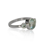 Aquamarine Bezel and Tube Sterling Silver Ring
