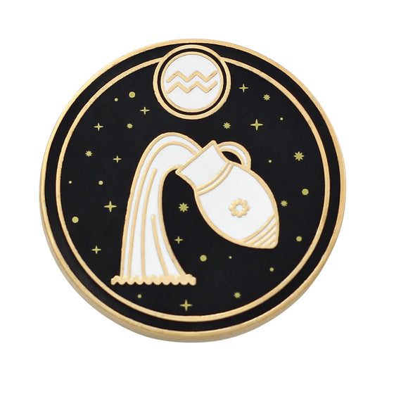 Aquarius Astrological Sign Pin - Star Sign / Astrology Enamel Pins