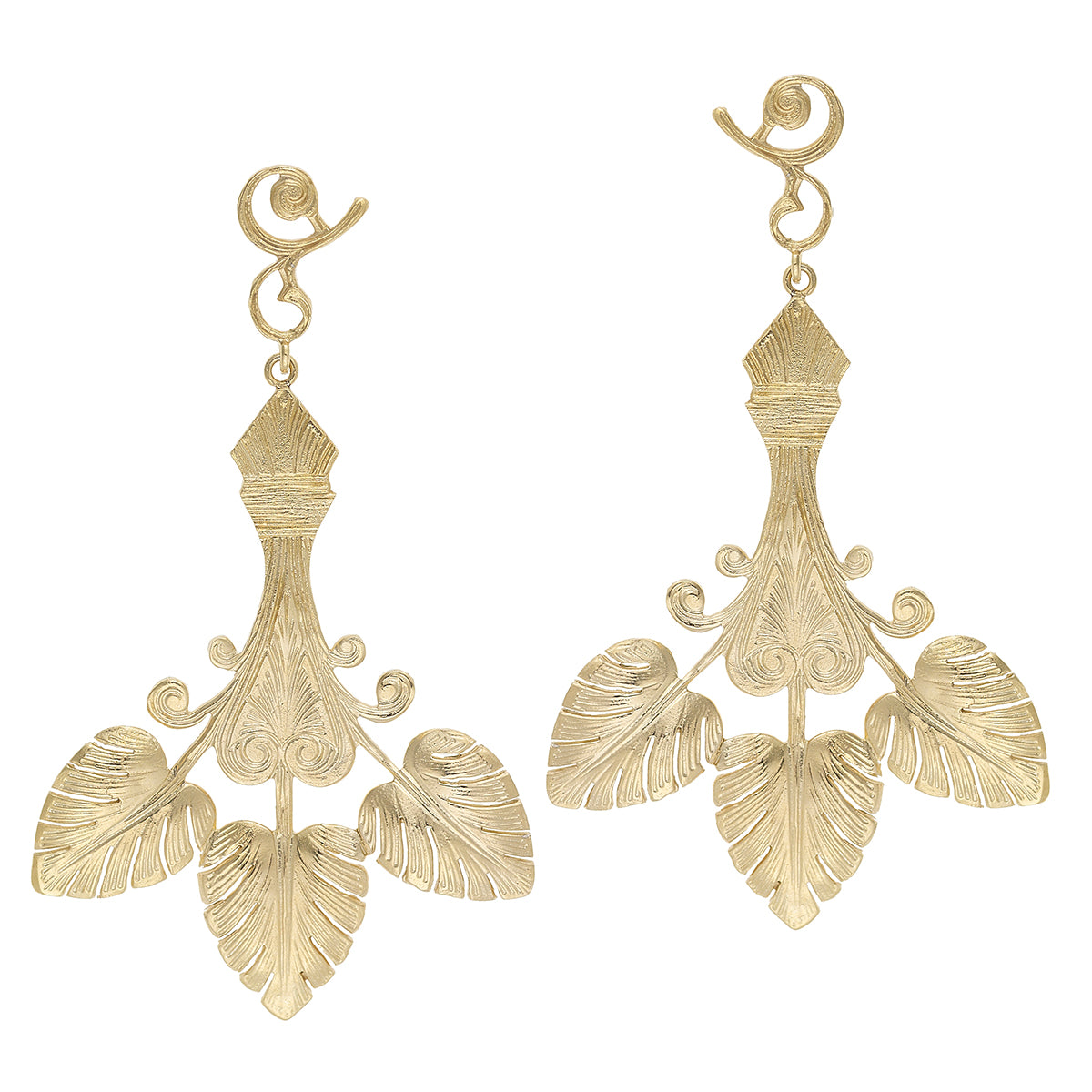 Triple Golden Leaf Earrings