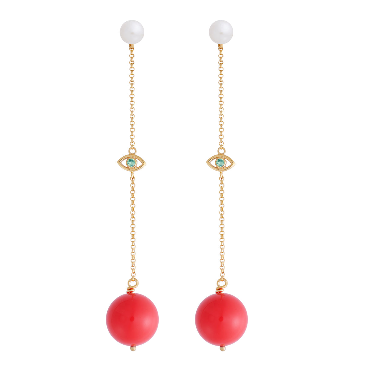Coral Solar Eye Earring