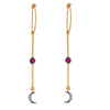 Dangling Ruby Moon Hoops