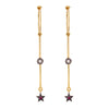 Dangling Ruby Star Hoops