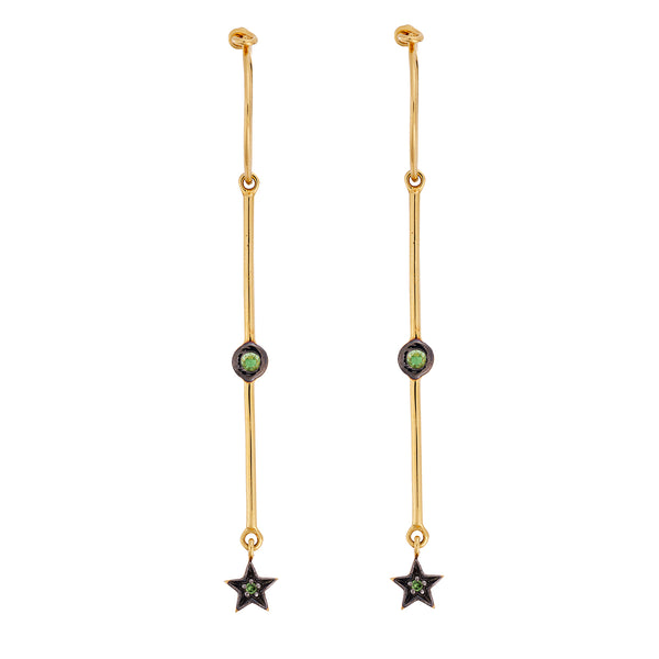 Dangling Tsavorite Star Hoops