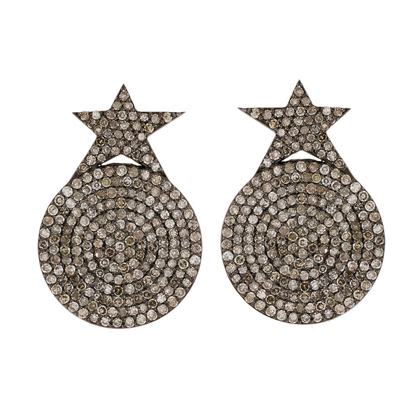 Diamond Star Disc Earrings